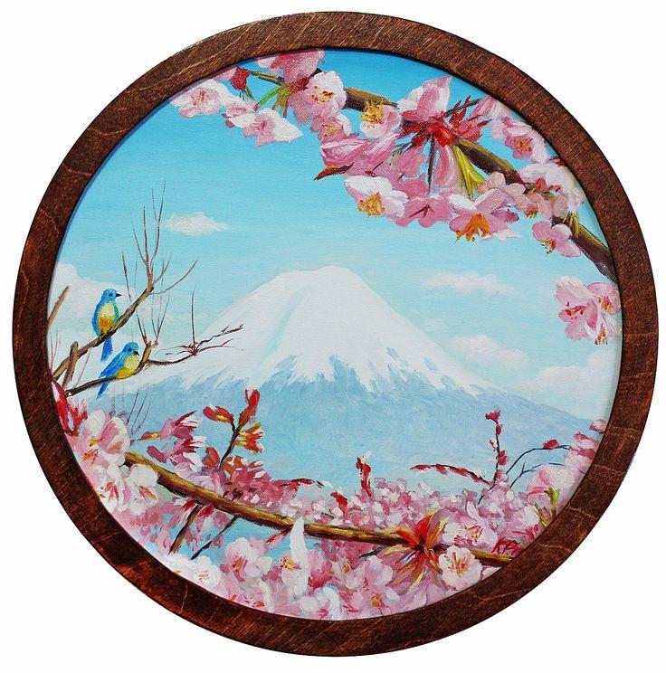 Гора Фудзияма   (Холст - картон, масло. Диаметр 40 см) Когда-то давно начал эту картину и вот она законченная. Фудзияму можно отнести к самым красивым вулканам на нашей планете.