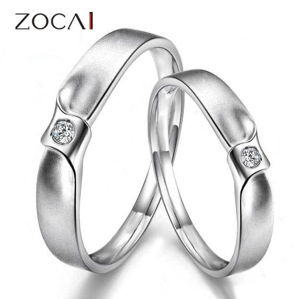 ZOCAI HARD HIT PURE LOVE 0.02 CT CERTIFIED H / SI DIAMOND HIS AND HERS WEDDING BANDS COUPLE RINGS ROUND CUT PD950 FREE SHIPPING