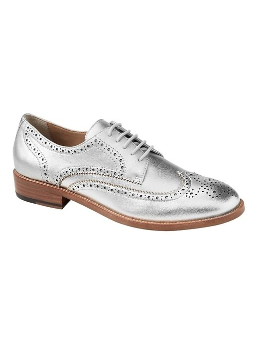 4a1ecb2d600 Banana Republic Womens Metallic Leather Oxford Silver. Metallic Leather  Oxford Oxford Shoes ...