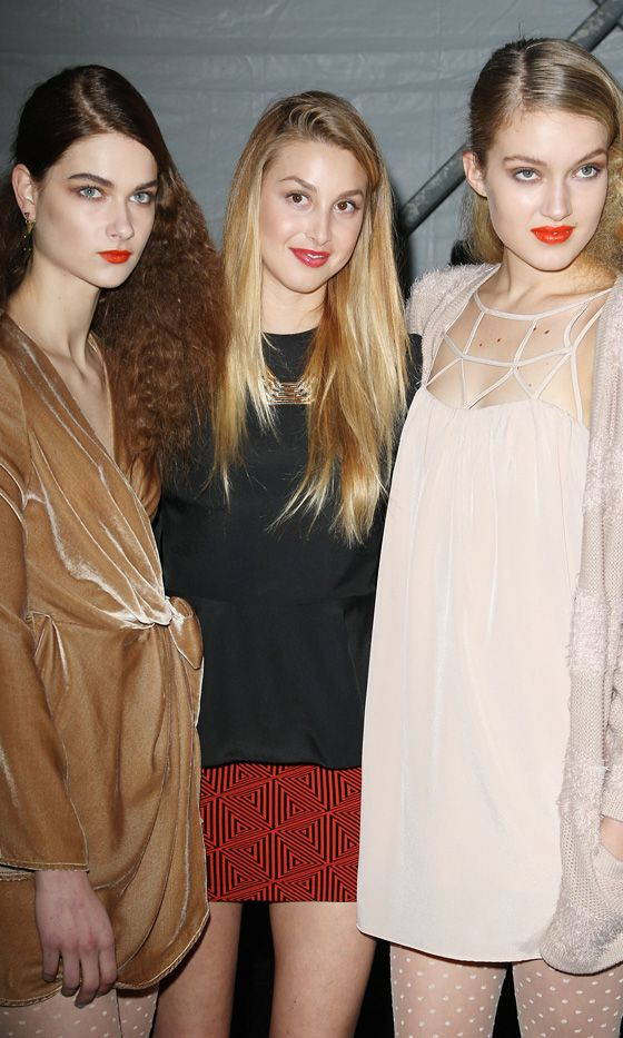 Whitney Port Backstage With Her Models Just Before Her Whitney Eve Fashion Show AW12