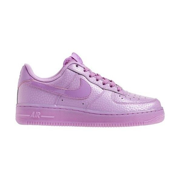 Nike 'Air Force 1' Sneaker ($60) ❤ liked on Polyvore featuring shoes, sneakers, nike, air force 1, purple, lace up sneakers, perforated shoes, purple shoes and nike footwear