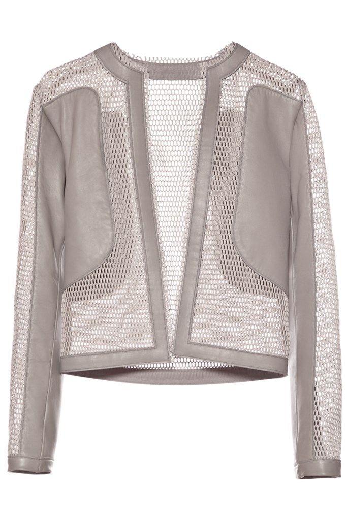 Campera combinada de red y cuero color gris con escote redondo, mangas largas, calce holgado.  ** Todas las prendas de Fabian Zitta son por encargue ** . Pertenece a la nueva colección P/V 2016 de Fabian Zitta.