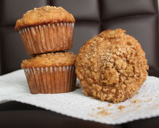 Banana Crumb Muffins from all those bananas in the freezer taking up space!