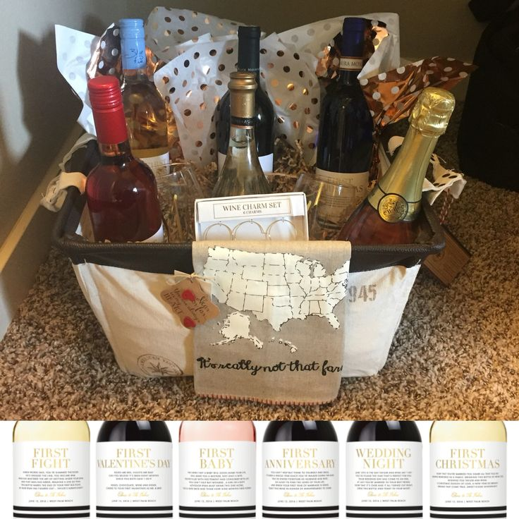 wine wedding shower gift poem%0A DIY bridal shower wine themed basket  Personal wine labels for a year of  firsts