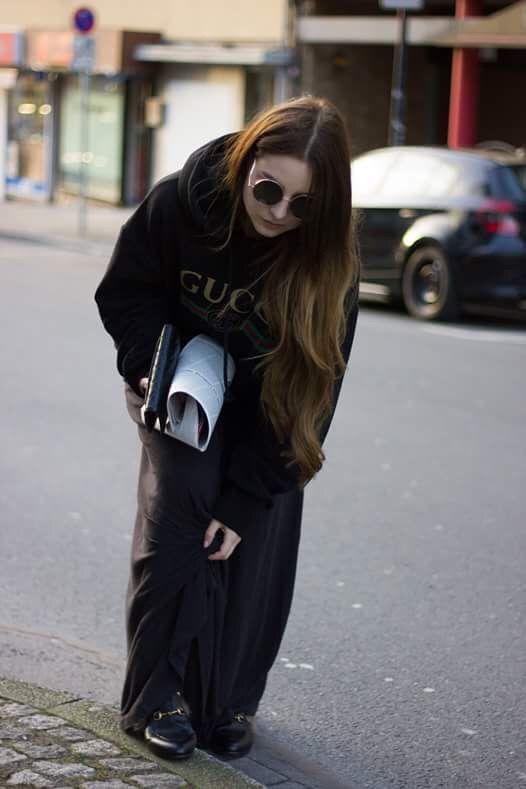 Gucci sweater and Gucci fur slipper