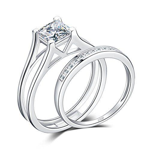 d52e446c9a24e Solid 14k White Gold Bridal Set Princess Cut Solitaire Engagement ...