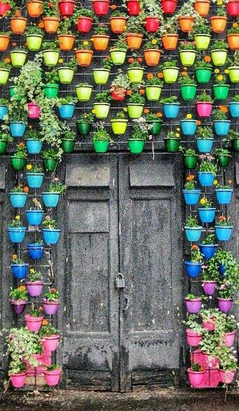 Color wall, pots. Moscow.