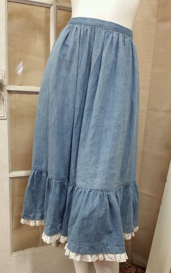 Vintage BIS Aged Soft Denim Prairie Skirt with White Ruffle Lace Trim & Pockets #BIS