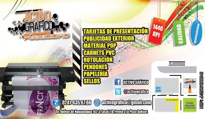 @activografico Impresión Solvente Rotulación Material POP Publicidad ext pendones papelería.02416356766 #valencia