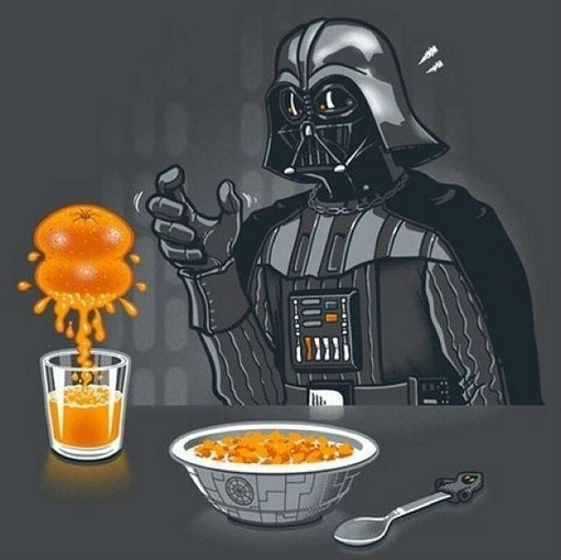 Darth Vader hace zumo a la fuerza