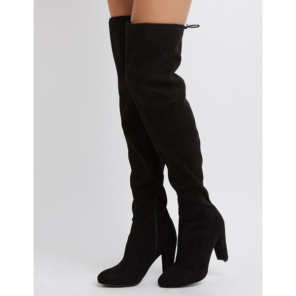 Charlotte Russe Tie-Back Over-The-Knee Boots ($49) ❤ liked on Polyvore featuring shoes, boots, black, thigh high boots, charlotte russe, over-knee boots, charlotte russe boots and black over-the-knee boots