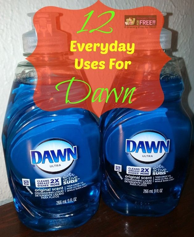 12 Everyday Uses For Dawn Dishwashing Liquid! Dawn has so many uses that I couldn't begin to list them all! I LOVE that they found out they can use it to save wildlife when there is an oil spill, too! Here are just 12 of the uses I know of for Dawn.