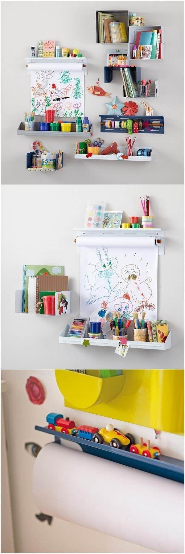 Space Saving Playroom Wall Storage Ideas Wall Shelves Playroom Wall Mounted Organizers Playroom Organization Kids Rooms Diy Kids Room Organization