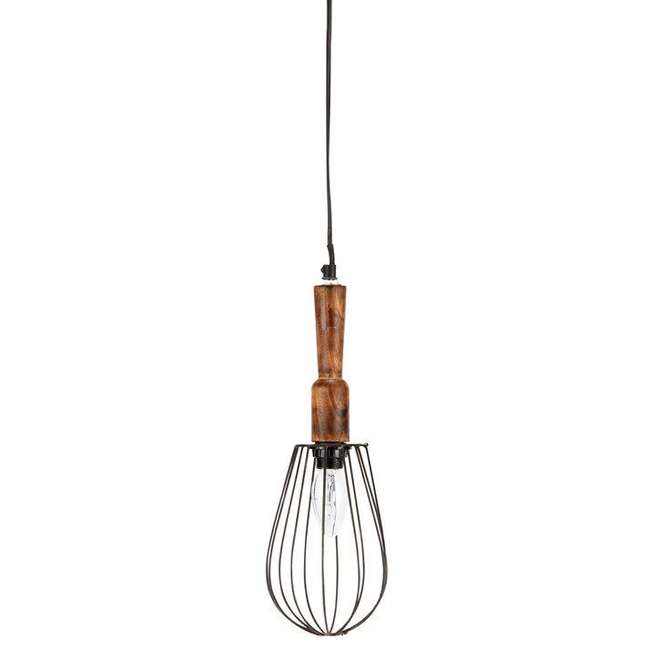 Houten en metalen LÉONTINE hang-looplamp D 13 cm