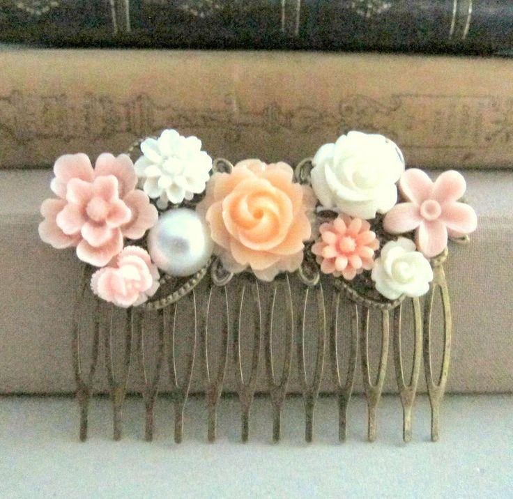 Peach Wedding Hair Comb Blush Pink Apricot Bridal by Jewelsalem, $19.00