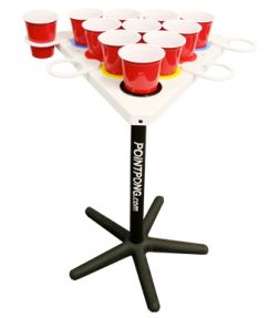 'Point Pong' - Portable beer pong set, and the tops can float in the pool!