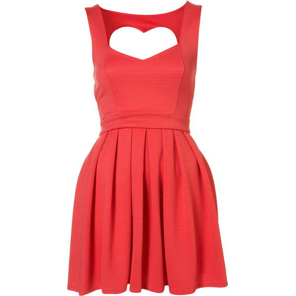Petite Heart Back Prom Dress ($60) ❤ liked on Polyvore featuring dresses, vestidos, short dresses, red, coral, red mini dress, petite prom dresses, prom dresses, red cocktail dress and cut out prom dresses