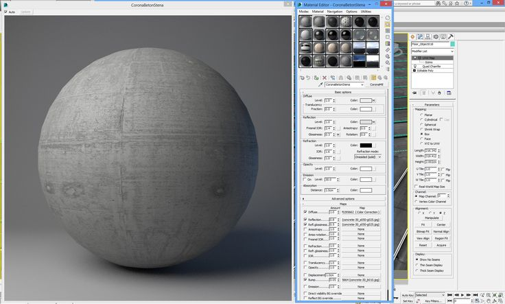 Corona Shader - Concrete with High Fresnel IOR and arroway textures