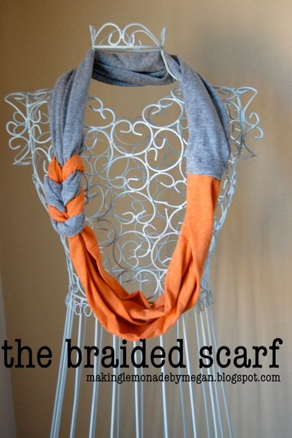 braided scarf out of two t-shirts
