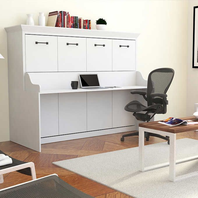 Best Melbourne Full Wall Bed W Desk Combo White Murphy Bed 640 x 480