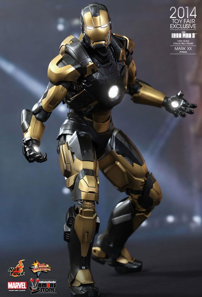 Hot Toys Iron Man Mark XX 'Python' is a Summer 2014 Toy Fair Exclusive collectible based on Robert Downey Jr's character from the movie Iron Man 3.