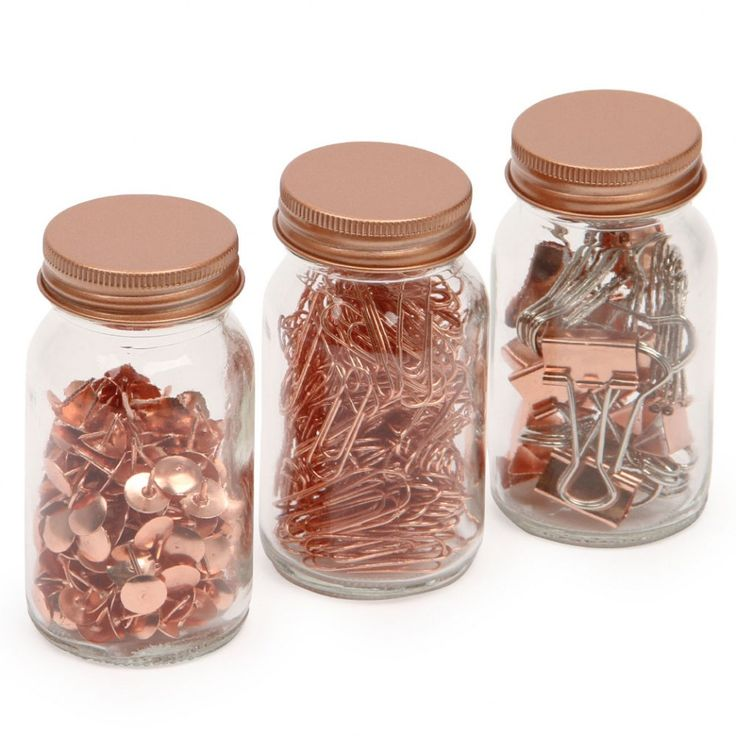 Get Organised desktop accessory jars - set of 3