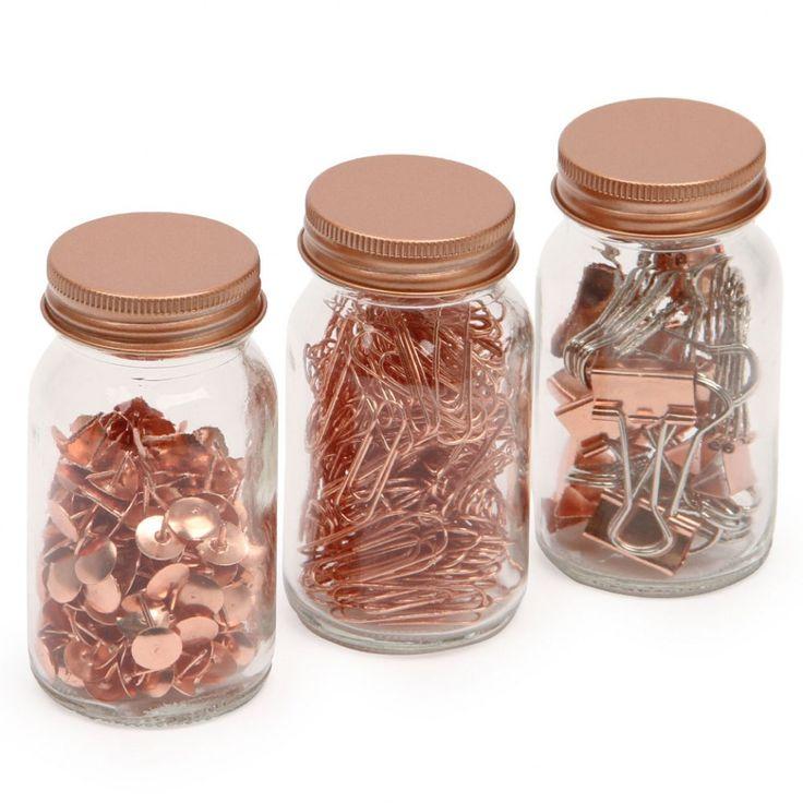 Get Organised desktop accessory jars - set of 3