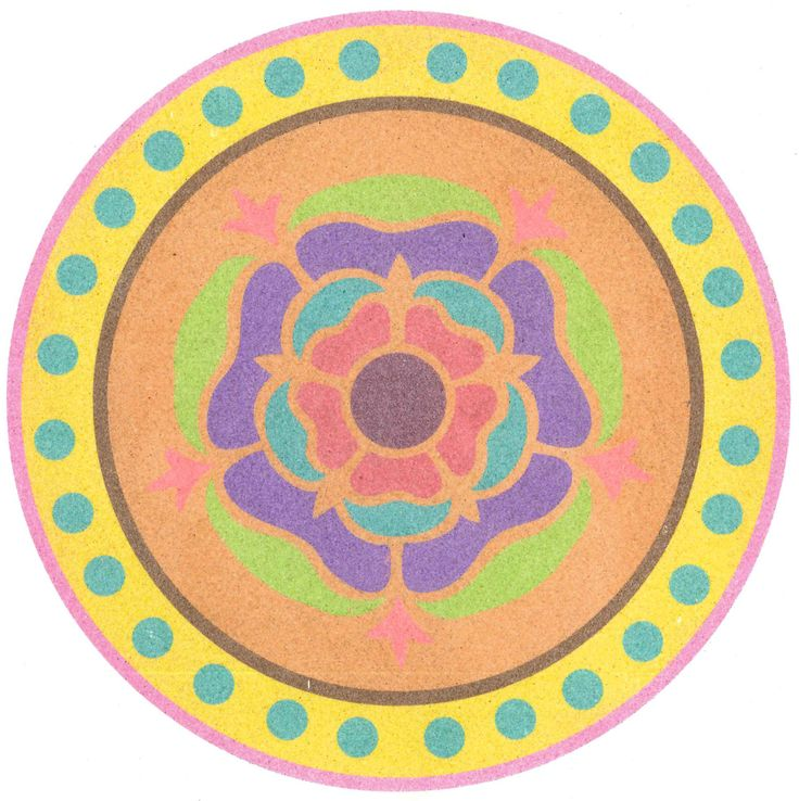 ypískovaná mandala barevným pískem