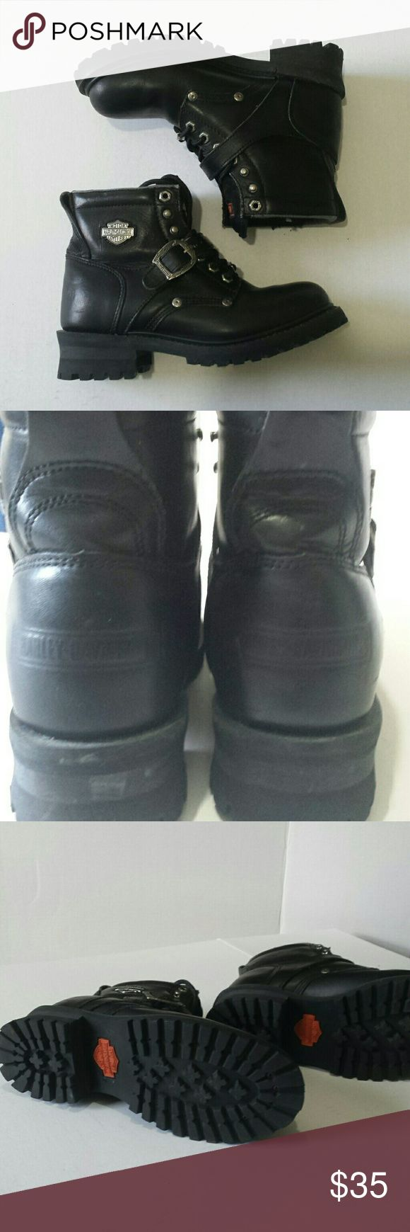 Women's Harley Davidson riding boots Harley-Davidson Faded Glory Style riding boots size 9 Genuine leather See picture of bottom of boot almost brand new  worn only a few times but have had 4 quite some time Also see top of ankle area peeling Harley-Davidson Shoes Combat & Moto Boots