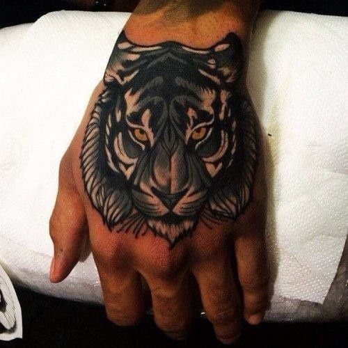 hand tiger tattoo
