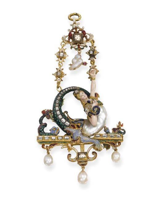A RENAISSANCE REVIVAL PEARL, ENAMEL AND GEM-SET PENDANT   The polychrome enamel and baroque pearl figure of Echidna, clutching a blue enamel snake, seated on a diamond and enamel base suspending three drop-shaped pearls, to the surmount of similar design with a pearl cloud pierced by a gold arrow, the reverse set with rubies, circa 1860, 12.5 cm. high