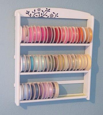 How about a refurbished spice rack for ribbon storage?Homemade Ribbons, Racks Makeovers, Ribbons Storage, Crafts Room, Plates Racks, Ribbons Racks, Spices Racks, Crafty Storage, Spice Racks