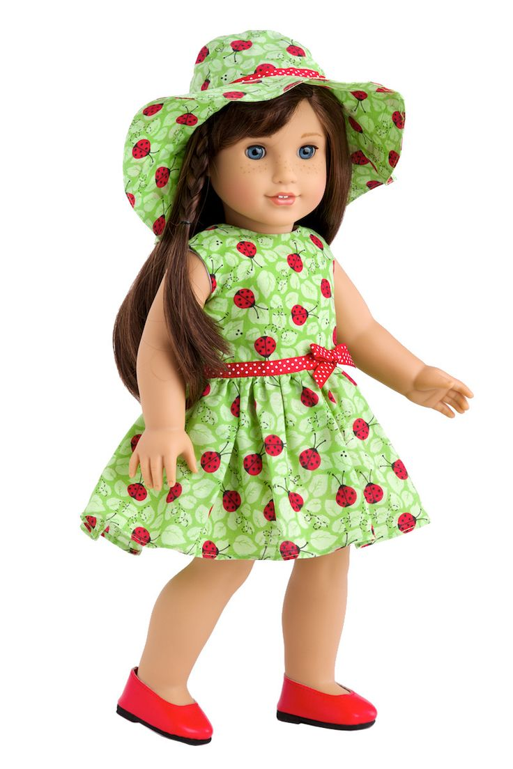 Ladybug - Clothrd for 18 inch Doll - Summer Dress with Hat and Red Shoes