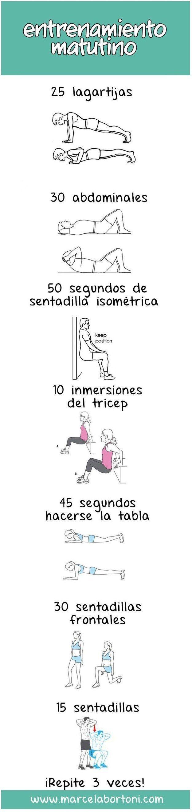 Hay muchos estudios que comprueban que hacer ejercicio en la mañana es mejor para ti. Así que intenta esta rutina y ve cuán mejor te sientes después de unas semanas.