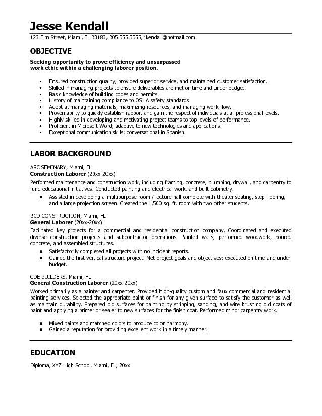 resumes for excavators | Construction Resume