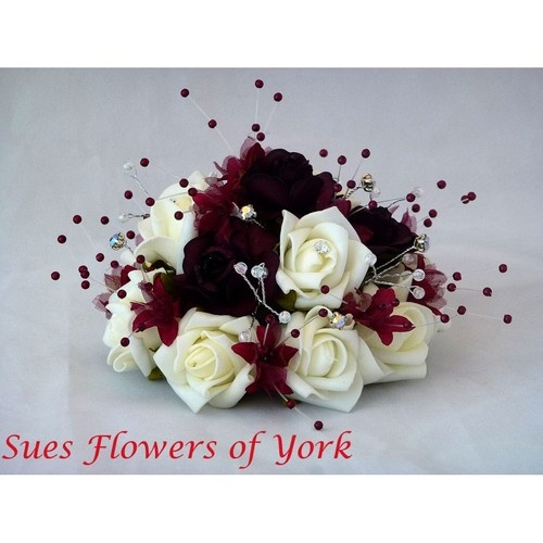 WEDDING FLOWERS CAKE TOPPER IN BURGUND AND IVORY