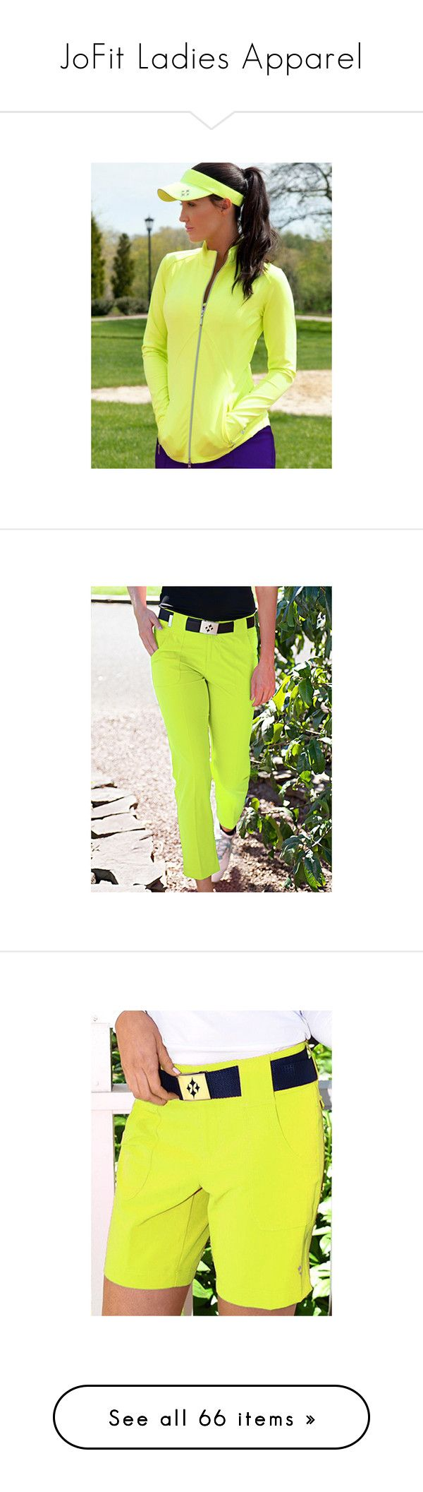 """JoFit Ladies Apparel"" by lorisgolfshoppe ❤ liked on Polyvore featuring pants, capris, green pants, cropped pants, cropped capri pants, golf pants, cropped trousers, tops, womens plus tops and purple golf shirt"