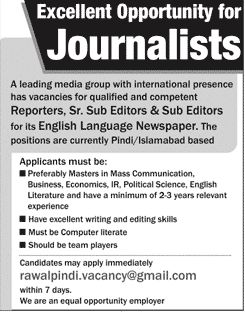 reporters, sub editors jobs in english newspapers