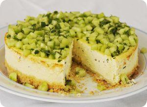 Cheesecake salé : chèvre, menthe, citron et concombre