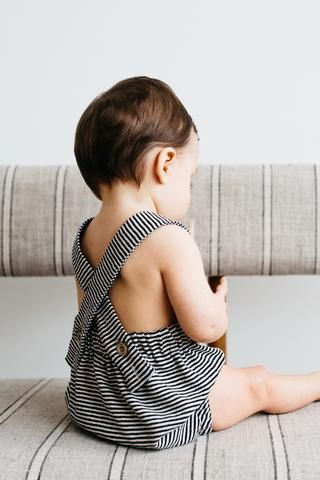 the Baby Romper in Stripes