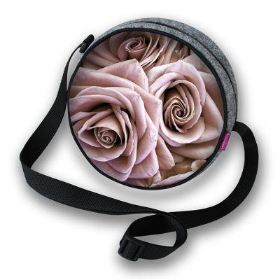 Rundförmige Handtasche Rosen