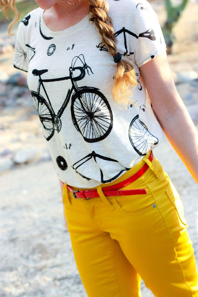 cute bicycle shirt and yellow jeans