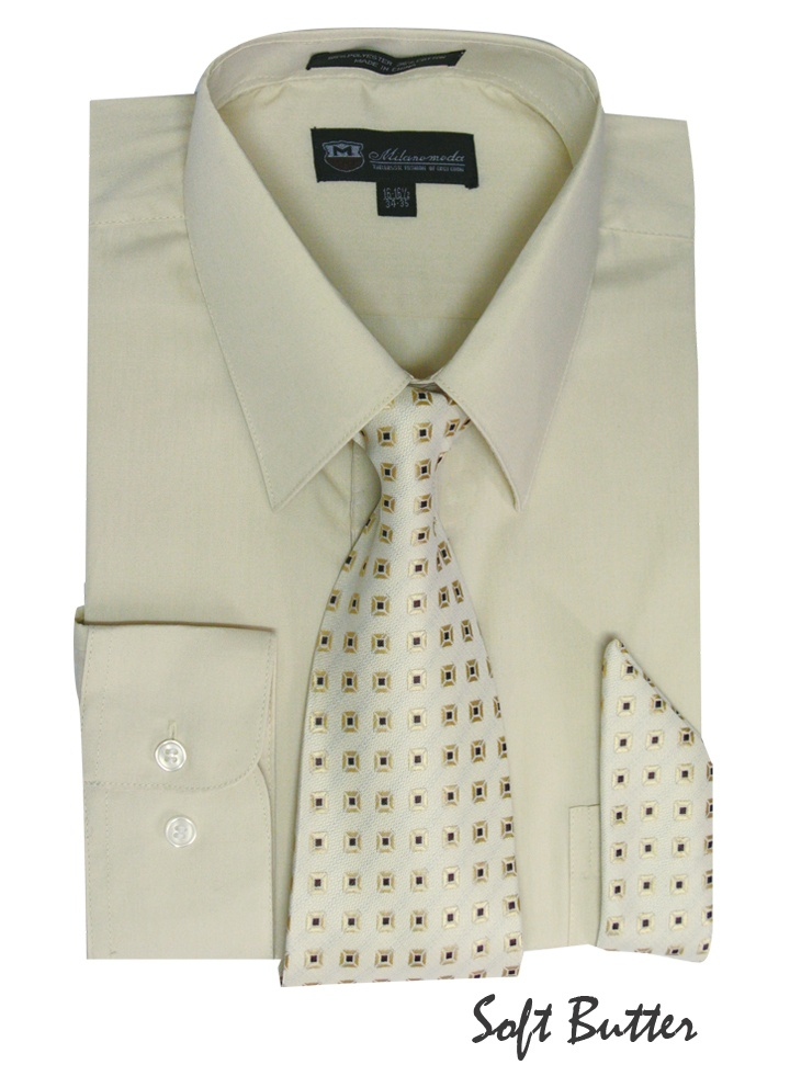 Nwt men 39 s milano moda set 1 dress shirt with matching tie for Matching ties with shirts