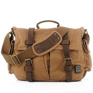 Vintage leather and canvas messenger bags for laptop via Ubackpack. Click on the image to see more!