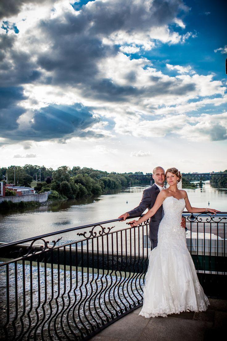 Summer Wedding, Mermaid dress, Grand river, Balcony, Sequined dress, Elegant, Outdoor, Cambridge Mill, Cambridge, Ontario, Canada wedding photography experts | Anne Edgar Photography