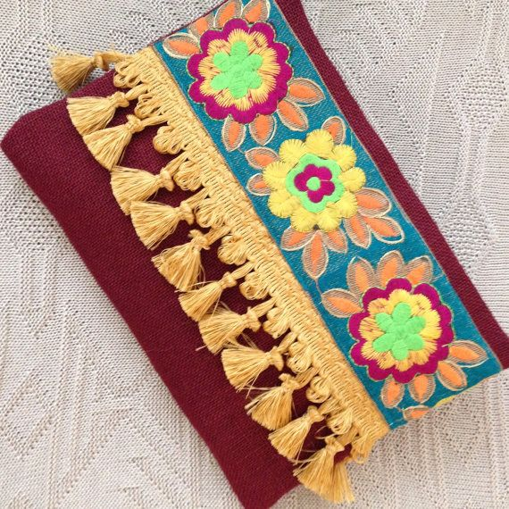 Boho Style Bag Bohemian Clutch Burgundy Ethnic Clutch