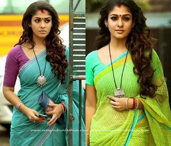 Nayanthara Hairstyles for Sarees