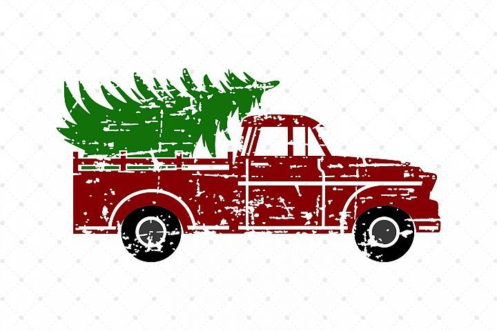 Distressed Christmas Tree Truck SVG Cut