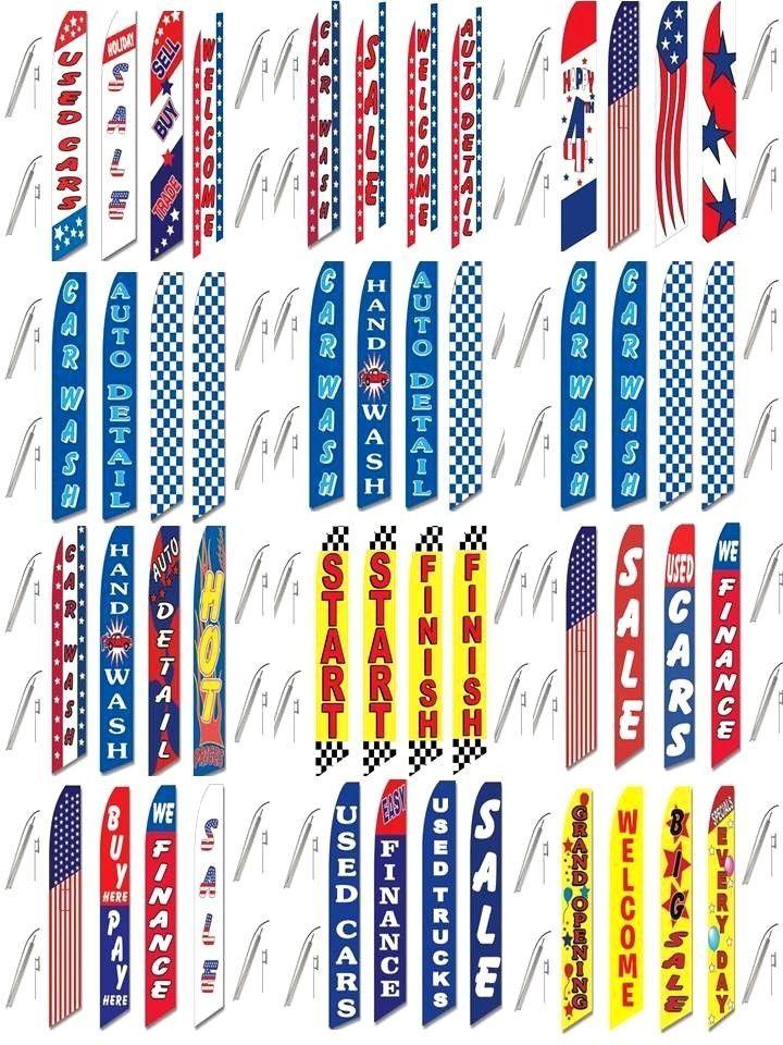 4 Swooper Flags & Pole Kits Car Truck Auto Sale Finance Used Buy Here Wash Open  #CarLotPromotions