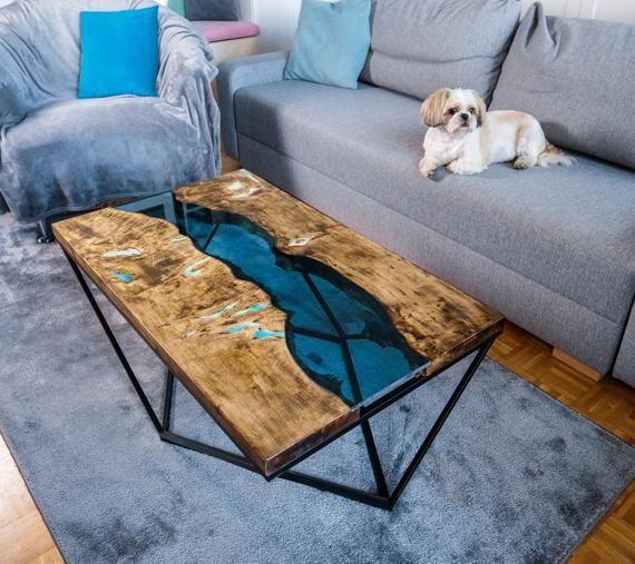 Live Edge River Coffee Table With Glowing Resin Derevyannye